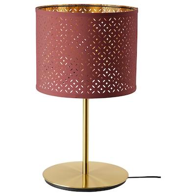 NYMÖ / SKAFTET tafellamp donkerrood messing/messing 32 cm 38 cm