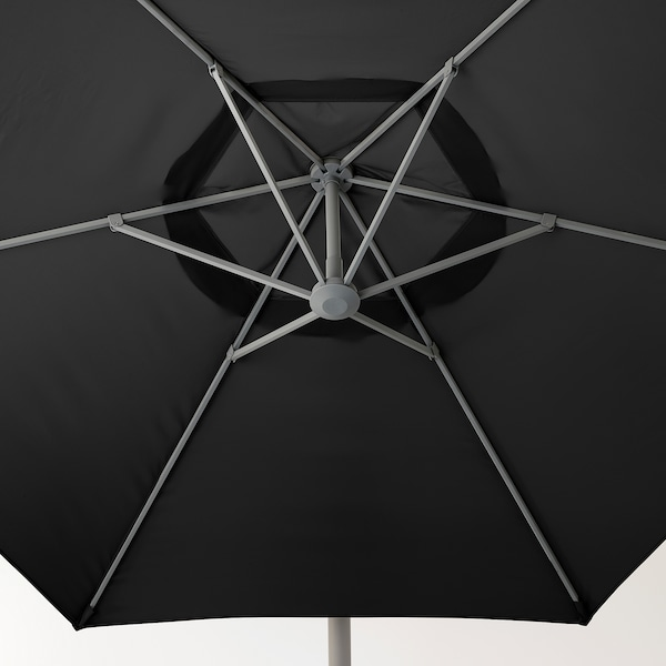 OXNÖ / LINDÖJA Parasol, vrijhangend met voet, zwart/Svartö donkergrijs, 300 cm