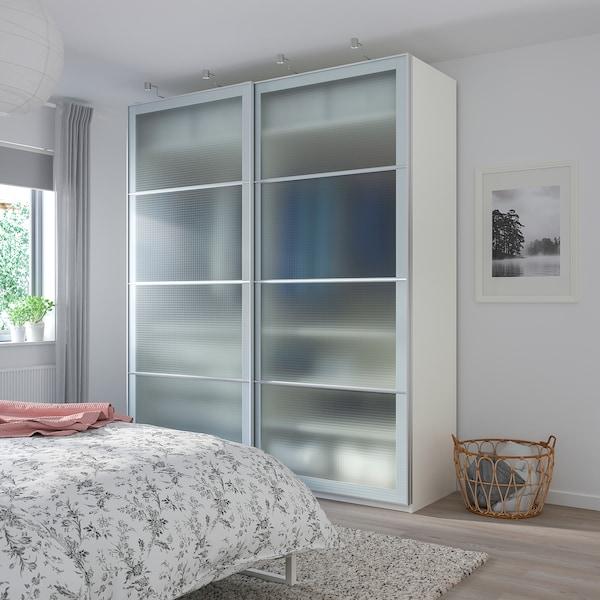 PAX Kledingkast, wit/Nykirke frosted glas, ruitpatroon, 200x66x236 cm