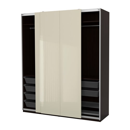 pax kledingkast zwartbruin hasvik hoogglans lichtbeige 200x66x236 cm ikea. Black Bedroom Furniture Sets. Home Design Ideas