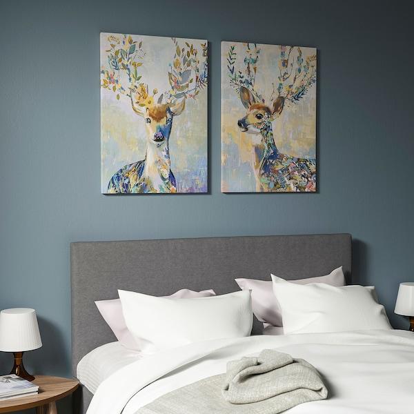 PJÄTTERYD Afbeelding zonder lijst, kleurrijk rendier, 50x70 cm