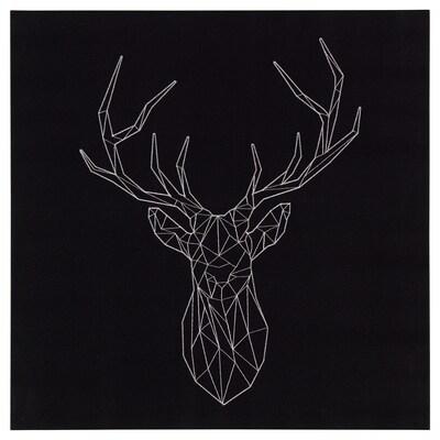 PJÄTTERYD Ingelijste afbeelding, zilveren hert, 56x56 cm