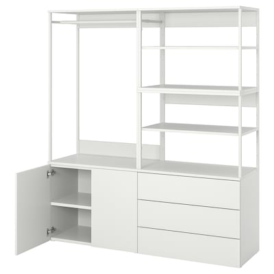 PLATSA Kledingkast met 2 deuren+3 lades, wit/Fonnes wit, 160x42x181 cm