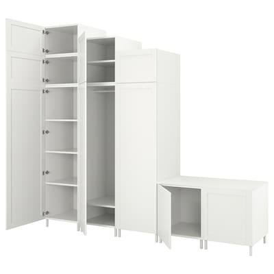 PLATSA Kledingkast met 9 deuren, wit Sannidal/wit, 300x57x271 cm