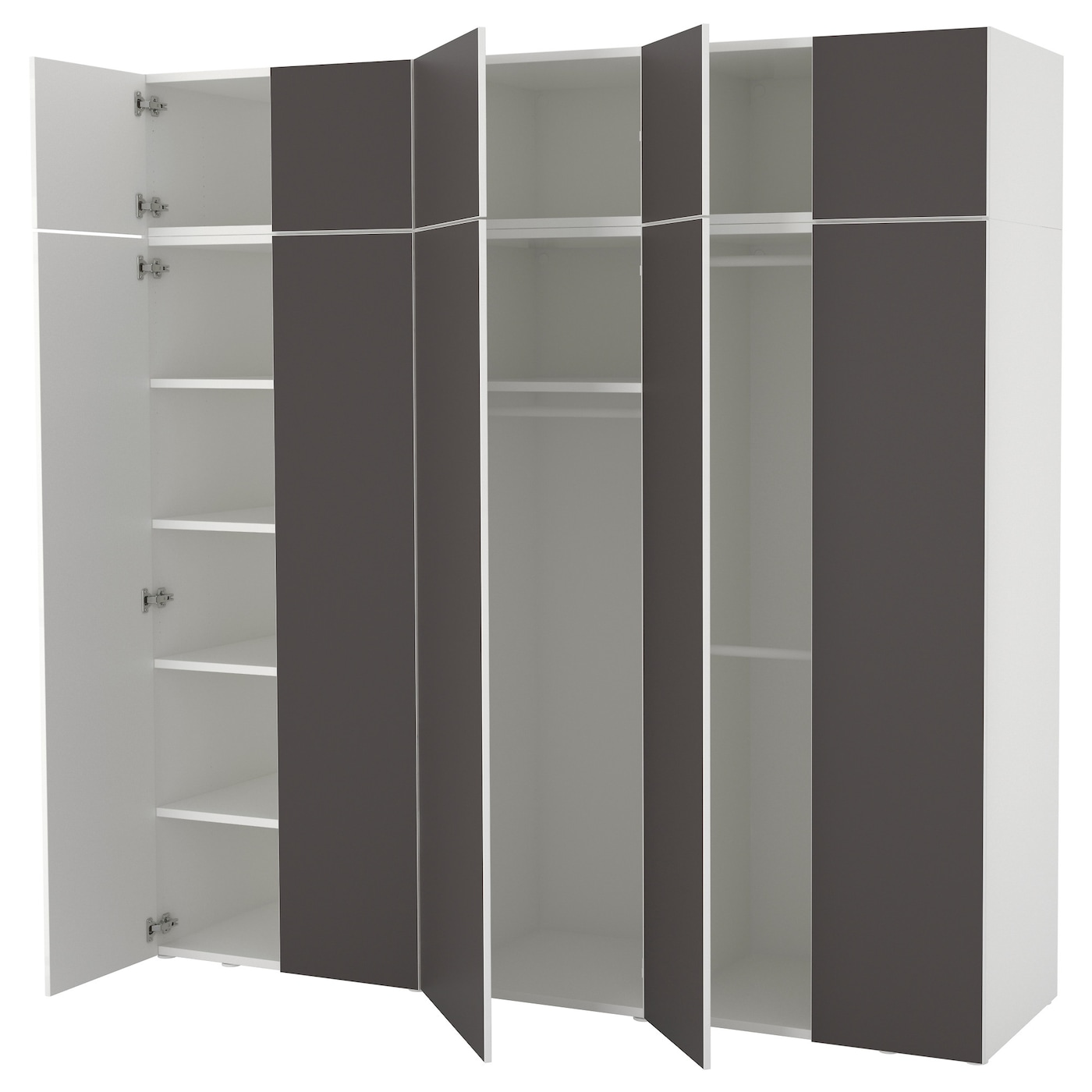 platsa kledingkast wit skatval donkergrijs 220 x 57 x 221 cm ikea. Black Bedroom Furniture Sets. Home Design Ideas
