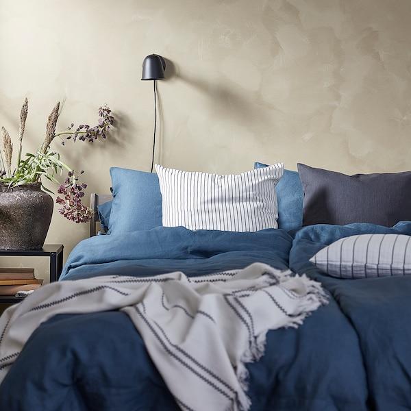 PUDERVIVA Dekbedovertrek en 2 kussenslopen, donkerblauw, 240x220/50x60 cm