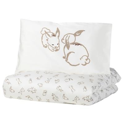 RÖDHAKE Dekbedovertr 1 kussensl babybed, konijnenpatroon/wit/beige, 110x125/35x55 cm