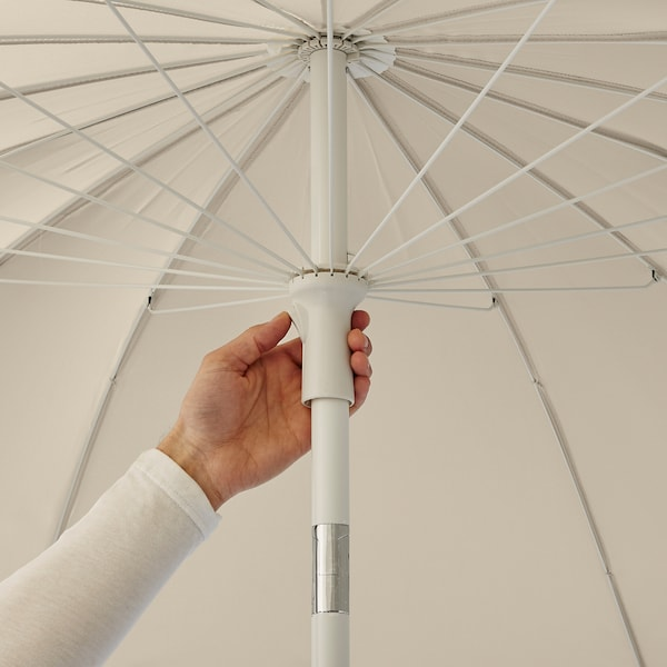 SAMSÖ Parasol met voet, beige/Grytö donkergrijs, 200 cm