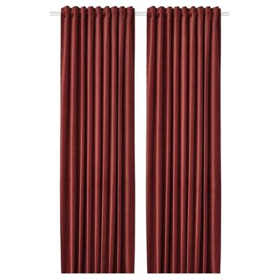 SANELA Deels verduisterende gordijnen,1pr, roodbruin, 140x300 cm