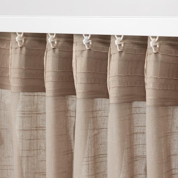 SILVERLÖNN Vitragegordijnen, 1 paar, beige, 145x300 cm