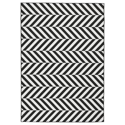 SKARRILD vloerkleed glad geweven, bin/buit wit/zwart 230 cm 160 cm 5 mm 3.68 m² 1555 g/m²