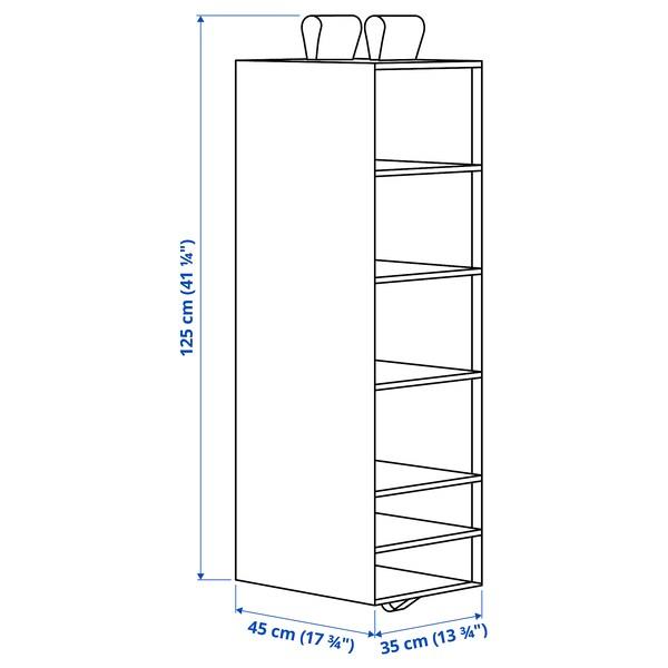 SKUBB Opberger met 6 vakken, donkergrijs, 35x45x125 cm
