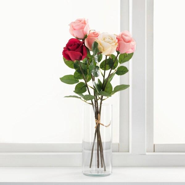 SMYCKA Kunstbloem, Roos/roze, 52 cm