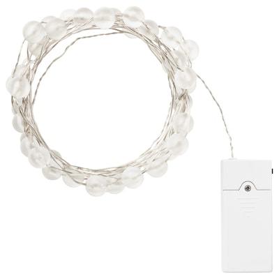 SNÖYRA Led-lichtsnoer met 40 lampjes, binnen/op batterijen zilverkleur