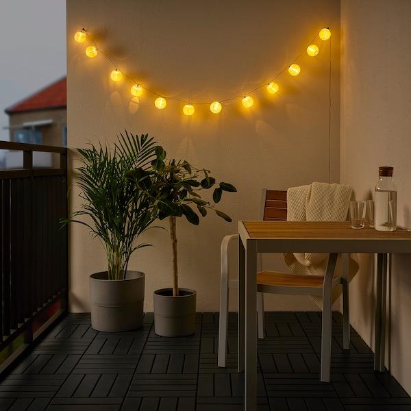 SOLVINDEN Led-lichtsnoer met 12 lampjes, buiten/op batterijen wit