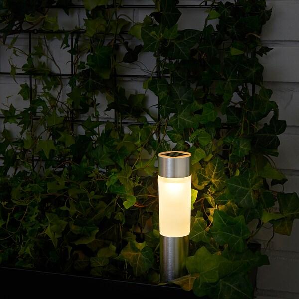 SOLVINDEN Led-zonnecelverlichting, cilinder/aluminiumkleur