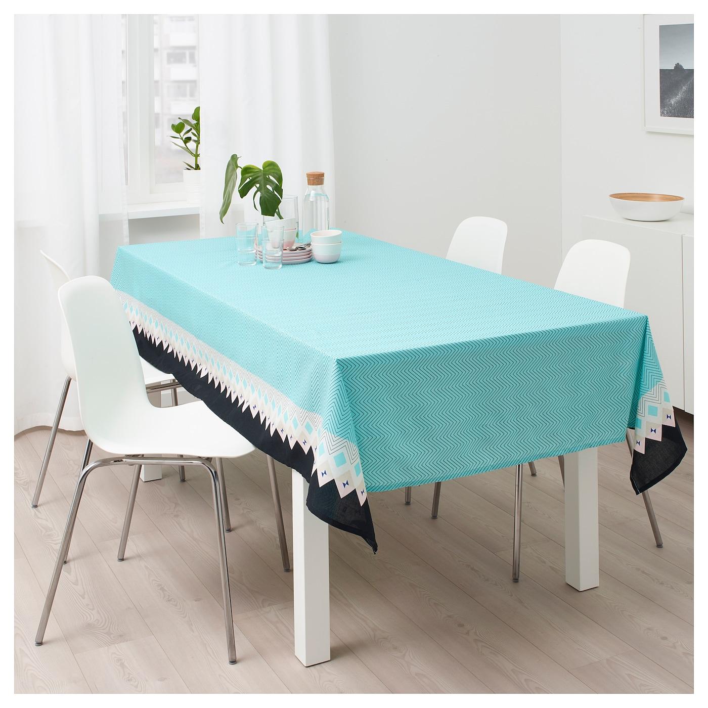 sommar 2018 tafellaken turkoois met een patroon 145 x 240 cm ikea. Black Bedroom Furniture Sets. Home Design Ideas