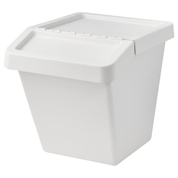 SORTERA Afvalbak met deksel, wit, 60 l