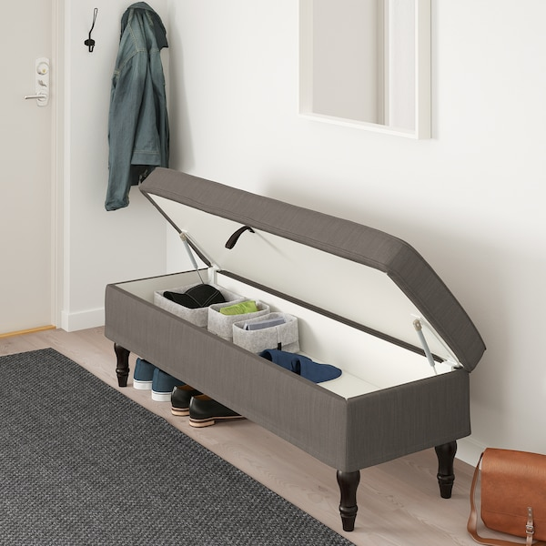 STOCKSUND Bankje - Nolhaga grijsbeige, zwart/hout - IKEA