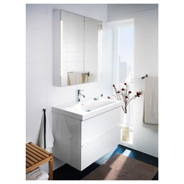 STORJORM Spiegelkast 2 deur/ingb verlichting, wit, 80x14x96 cm