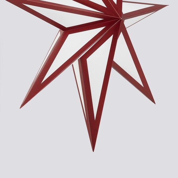 STRÅLA Lampenkap, rood/wit, 70 cm