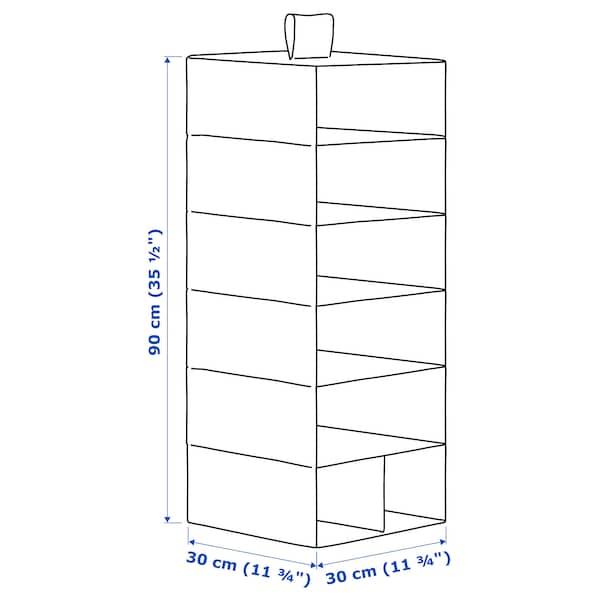STUK Opberger met 7 vakken, wit/grijs, 30x30x90 cm