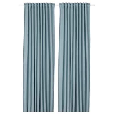 TIBAST Gordijnen, 1 paar, blauw, 145x300 cm