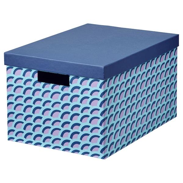 TJENA doos met deksel blauw/veelkleurig 35 cm 25 cm 20 cm