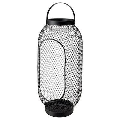 TOPPIG Lantaarn voor stompkaars, zwart, 49 cm