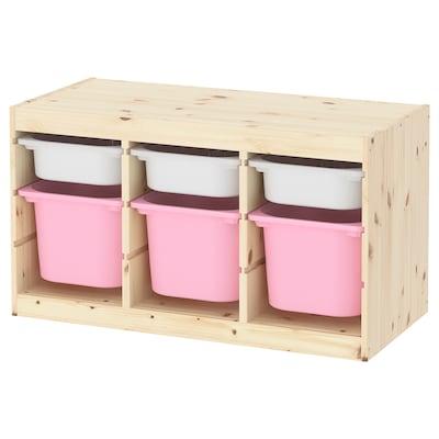 TROFAST Opbergcombinatie met bakken, licht wit gebeitst grenen wit/roze, 94x44x52 cm