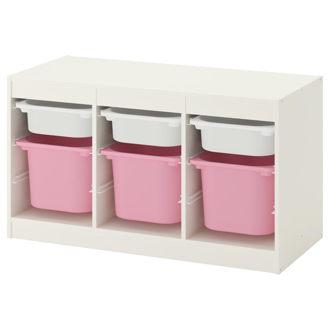 trofast opbergcombinatie met bakken wit roze 99 x 44 x 56 cm ikea. Black Bedroom Furniture Sets. Home Design Ideas