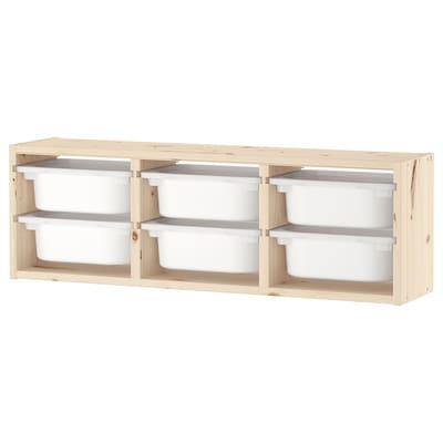 TROFAST Wandopberger, licht wit gebeitst grenen/wit, 93x21x30 cm