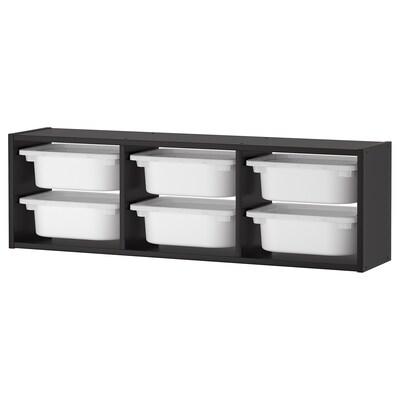 TROFAST Wandopberger, zwart/wit, 99x21x30 cm