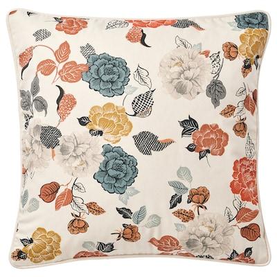 TROLLMAL Kussenovertrek, naturel/bloemenpatroon, 50x50 cm