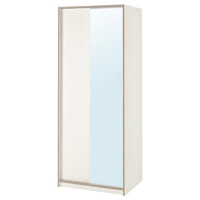 TRYSIL Kledingkast, wit/spiegelglas, 79x61x202 cm