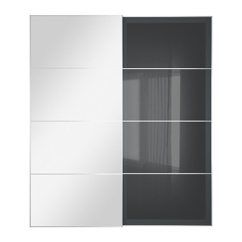 uggdal auli schuifdeur set van 2 spiegelglas grijs glas 200x236 cm ikea. Black Bedroom Furniture Sets. Home Design Ideas