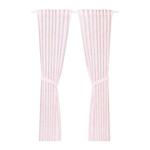 VÄNSKAPLIG Gordijnen met embrasse, 1 paar Roze 120 x 300 cm - IKEA