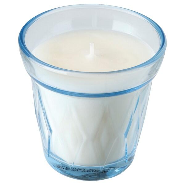 VÄLDOFT Geurkaars in glas, Fris gewassen/lichtblauw, 8 cm