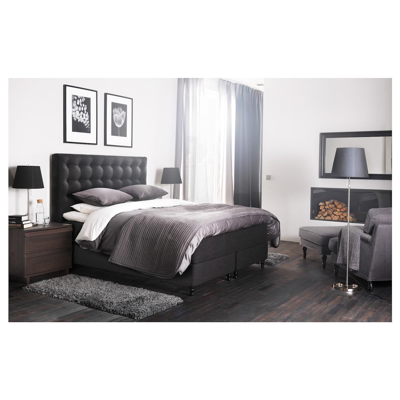 vallavik boxspring hyllestad stevig tuss y grijs 180x200. Black Bedroom Furniture Sets. Home Design Ideas