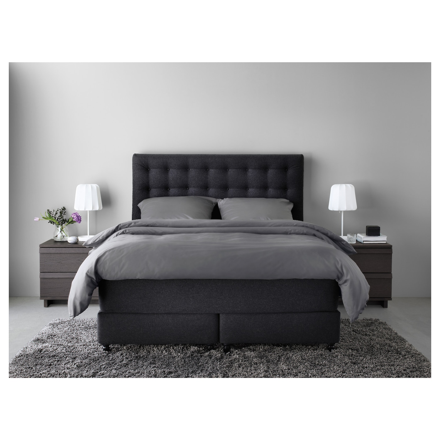 vallavik boxspring hyllestad stevig tuss y grijs 180x200 cm ikea. Black Bedroom Furniture Sets. Home Design Ideas