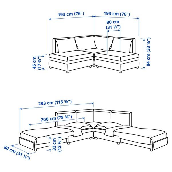 VALLENTUNA Mod hoekbank 3zits + 2zits slaapb, en opbergruimte/Kelinge roestbruin