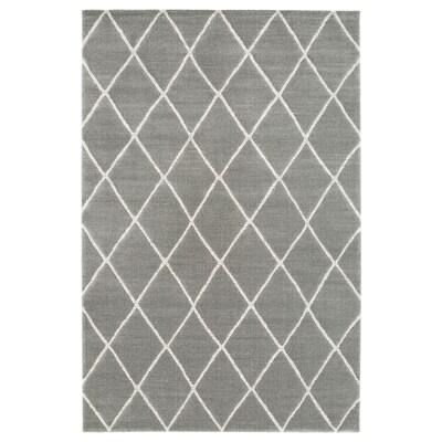 VANTORE Vloerkleed, laagpolig, grijs/wit diamantpatroon, 200x300 cm