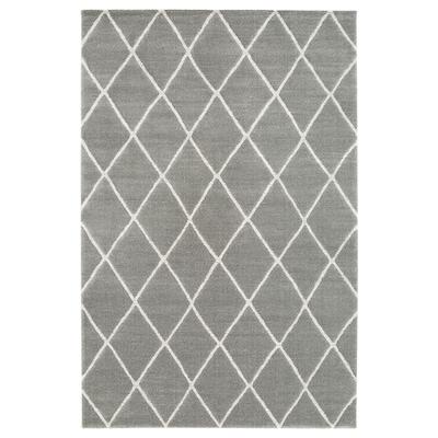 VANTORE Vloerkleed, laagpolig, grijs/wit diamantpatroon, 160x230 cm