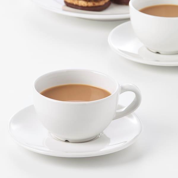 VARDAGEN Koffiekop en schotel, ecru, 14 cl