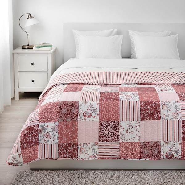 VÅRRUTA Sprei, wit/roze, 260x250 cm
