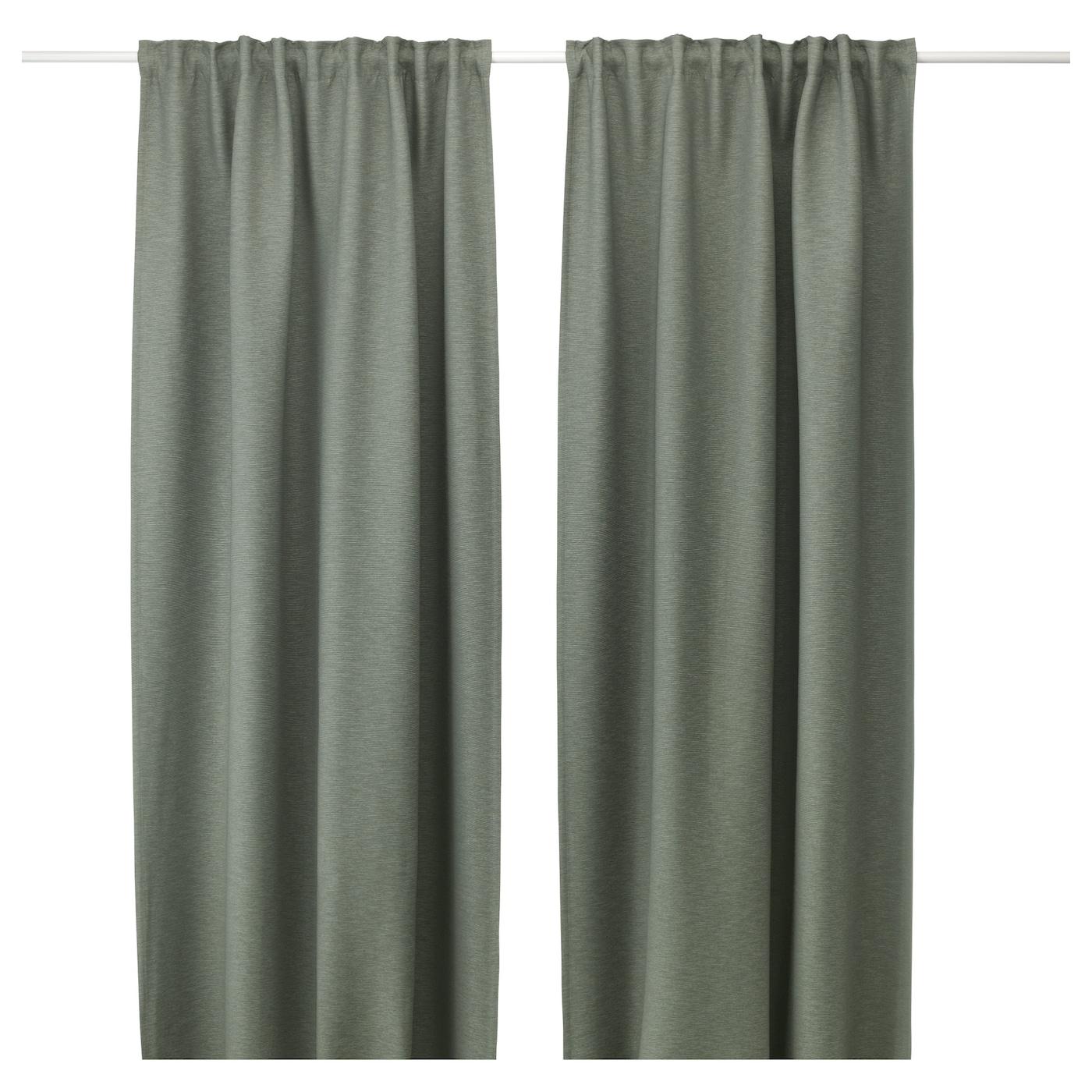 VILBORG Gordijnen, 1 paar Groen 145 x 300 cm - IKEA