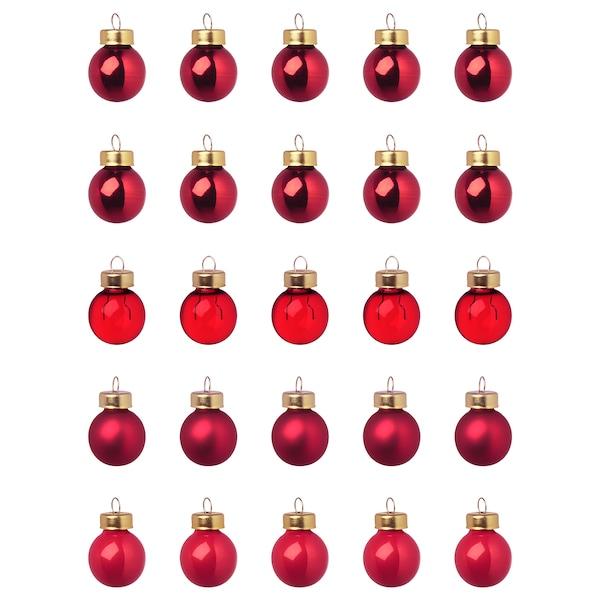 VINTER 2020 Decoratie, bal, glas rood, 2 cm