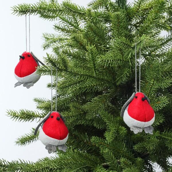 VINTER 2020 Decoratie, hangend, vogel rood, 5 cm