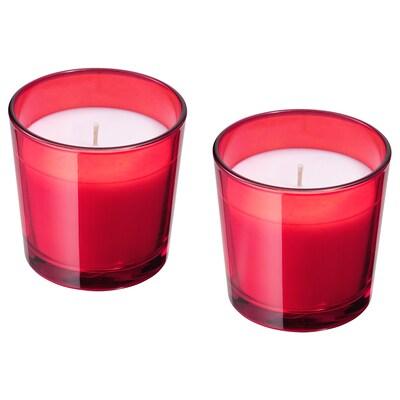 VINTER 2020 Geurkaars in glas, Vijf winterkruiden rood, 7.5 cm