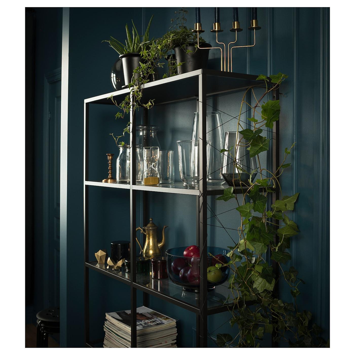 Zwarte Kast Met Glas.Vittsjo Stellingkast Zwartbruin Glas 100 X 175 Cm Ikea